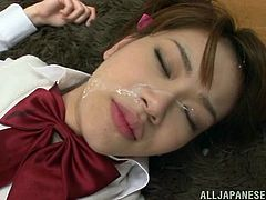Sexy Japanese teen in school uniform gets her pussy licked. Then she gives a blowjob and gets fucked on the floor.