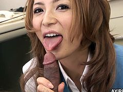 Admirable and sexy office lady with juicy lips is giving awesome blowjob on her knees