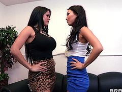 Check out these two mean babes. They are hot and nasty and love to argue. All that tension turns into a wild fuck and the bitches decide to release it by fucking. The busty one receives a mean pussy lick after she got her boobs licked and then things start to get really hot and heavy