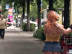This juicy and lusty redhead siren is a public sex lover! She gets naked in public and gets balled by some dudes at the places she had been that day.