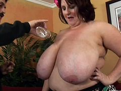 Dirty Harry pays this big, huge fat bitch called Sapphire X a big fat stack of cash so she will let him rub oil all over her chubby, sagging breasts. She sucks his cock really well, too. For him, it's money well spent.
