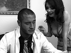 Dr. Danny Mountain has a crush on nurse Ashley and he wants to fucks her. He daydreams while talking to her and imagines doing so. She sucks his cock and rides his huge member until he blows his load on her.
