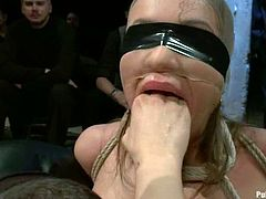 Busty bitch Nika Noire is having fun with a few dudes in a basement. The guys tie her up and then put a gag in her mouth and fuck her throbbing cunt deep and hard.