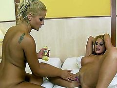 Sweet blonde Cathy Heaven and Chary are spreading their long legs to use vibrators and reach an orgasm. They are more than ready for more action.