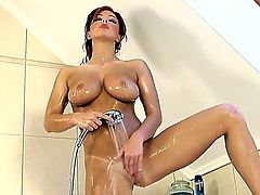 Ashley Robbins cant just go in shower, she needs to do something naughty there, so thats why she is masturbating so hard. Her wet pussy is always ready for a big sex toy. Enjoy
