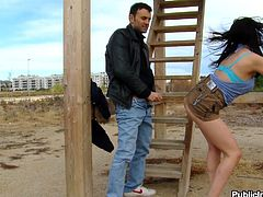 She was wondering on the street wearing those sexy panties and looking for a hard cock to fill her naughty ass. Bitch Claudia found what she was looking for when this guy gave her his hard dick. she started to suck him right there and boy what a great job she did. Her pretty face deserves some cum doesn't it?