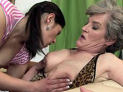 Damn this scene is fucking nasty. This granny has no idea of what a lesbian sex should look like. So Connie shows her and makes her eat her pussy.