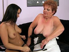 This sexy and slender hottie Chanel gets naked with a hungry mature lady Lady Bella. She eats her tight pussy and loves that feeling.