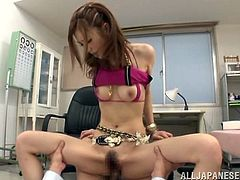 Adorable Japanese girl with pretty face gets her pussy licked. Then this babe gets fucked nice and deep in her hairy cunt.