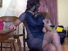 Beautiful sweetie inside the Cute clothe and smooth grey stockings having banged raw