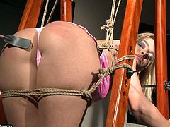 Mandy Bright is gonna punish Salome for her bad behavior. She ties her up and pounds her pussy deep and hard with a dildo.