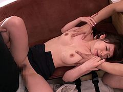 Hot Japanese chick Julia is playing dirty games with two men indoors. She sucks their dicks and then lets the dudes fuck her tight cunt deep and hard.