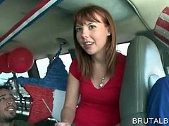 Cute redhead amateur accepts to take a sex ride in the bus