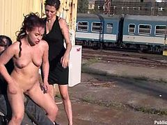 Insatiable Russian bitch Olga Cabaeva is playing dirty games with some lewd man in the street. She sucks his dick devotedly and then gets her holes pounded deep and hard.
