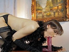 Sexy dark-haired slut Nina Young is playing dirty games in the study. She strokes her nice body and then pleases herself with fingering.