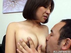 Horny and sizzling Japanese milf is cheating on her husband. Well, she is a free woman and she can do whatever she wants with that hard dick.