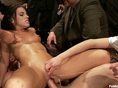 Stunning Adriana Chechik gets humiliated by some people. In fact, she likes it very much. She also gets her pussy gaped and fucked.