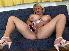 Musty mature whore Flavia has her favorite dildo in her hand and she's about to show us what she knows to do with it. This bitch needs a big hard dick but that sex toy will have to do for now. She fills her shaved cunt with it and has a lot of fun. Stick around and watch what else she's up to