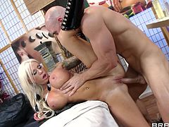 blonde with huge tits loves to have deep penetration hard sex along horny guy