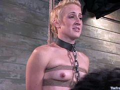 Slutty blonde Dylan Ryan lets horny dude Maestro tie her up and play with her body. Then she gives him a fervent blowjob and they bang in missionary and other positions.