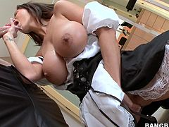 He was working out when the maid showed up and offered a different kind of workout. He got hard when she was dressed, imagine what happened when she started sucking on his dick! And then his wife showed up but that didn't seem to be a problem as the two girls ganged up on him. They made a big mess!