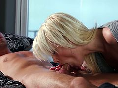 Pretty blondie sucks a dick putting it deep in her pussy. After that she also gets her pussy licked and fucked.
