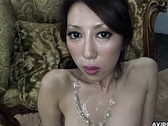 Dazzling and daring asian babe with small natural tits is sucking huge phallus indoors