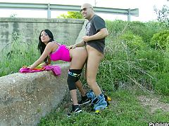 If you like seeing foreign chicks fucked hard in urban areas where everyone can see then this video is for you. Anissa Kate gets fucked from behind by a bridge so drivers in cars passing by can see her being a slut. She shows off her round ass and gives a good blowjob.