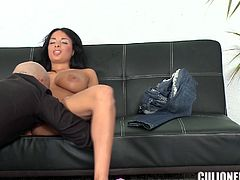 Gorgeous brunette Anissa Kate pleases the man with a perfect titjob. Then she jumps on his prick and licks it clean afterwards.