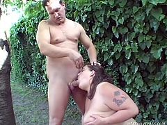 She's big, soft and white. Bbw Tiger has all she needs to make a man cum on her. See how she stays there on the ground with those legs spread and rubbing her shaved vagina? Tiger needs some cock inside her and luckily this guy noticed that. He feds her his dick and she swallows it before offering him a titjob
