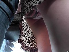 Horny guy enjoys upskirt view