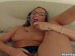 Arousing experienced long haired brunette secretary with sexy glasses and delicious ass in expensive underwear gets naked and stuffs her holes with dildo while Mark films her in point of view