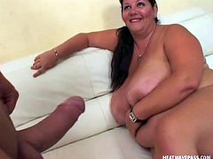 Like watching bbw that are horny and need cock? If you do then here's one and she's all turned on. Our chubby brunette has a pair of big boobs, a big fat ass and a mouth that droll for cock. She sucks and licks her boobs and then begins to give me head and a titjob. The fucking whore needs my milk!