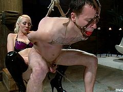 She has fun fucking guys with her strapon. This poor male sex slave is forced to sit on her rubber cock and swirl, it doesn't get any better than this