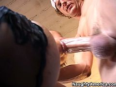 She is voracious MILF slut with curvaceous body. She wears tempting black lingerie she demonstrates on cam. She bends over the high chair taking hard cock from behind. This cougar slut seems to enjoy solid prick of a young stud. Check her out in steamy Naughty America porn video presented to you by Anysex.com for free.