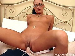 Watch Melezia Rodriguez go hardcore in her bed in this clip. Watch this nymphette riding a dick and then getting some doggystyle action!