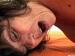 Skinny brunette granny pounding gaped grey-haired pussy of another bosomy granny in doggy style. Later they switch and she is the one who welcomes a zealous drill with dildo.