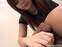Dirty-minded and whorable chestnut nympho enjoys sucking a dick and licking the balls, as well as giving a rimjob to the lucky dude. You surely need to check out hot pale girlie with sweet tits in Jav HD sex clip to jerk off a bit for delight.
