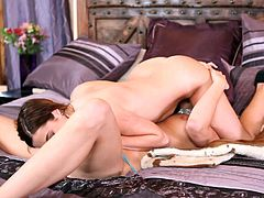 Alike looking hot nymphos with droopy boobs and rounded butts undress and jump onto the wide bed. It's time to jerk off while kinky nympho eat, spoon and tickle each other's wet juicy pussies in Twistys sex clip.