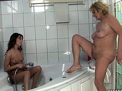 Inia and Sally in great old vs teen video. Beautiful teen takes a shower with old lady. After that they go the bedroom and have hot lesbian sex there.