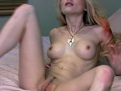 Statuesque blondie Alana Langford toys her pussy with glass dildo