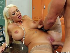 She is dirty MILF with knock-out body. She gives the guy awesome titjob and the gets rammed hard missionary style.