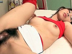 Asian girl gets hairy twat drilled