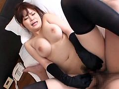 Sweet Japanese girl in stockings poses in a bathroom and sucks a cock. After that she gets fucked in a bedroom.