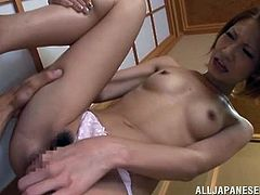Beautiful Japanese woman makes out with her man and turns him on. Then she moves her legs wide apart and welcomes the dude's cock in her soaking wet pussy.
