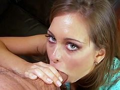 After sucking a dick for cum whorish British chick gets her twat drilled mish