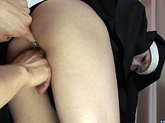 She has been missing cock for long so she totally wild having sex with horny guy. She bends over getting her wet pussy fingered from behind.
