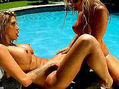 Stunning scissor sisters Kayla Carrera and Sandy are spreading their legs and using long tongues in order to please each other like never before.