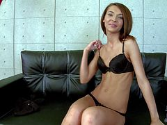 Adorable skinny brunette babe with small titties and long legs gets naked and has fun wile teasing dirty dude with her tight sweet ass at the interview in living room
