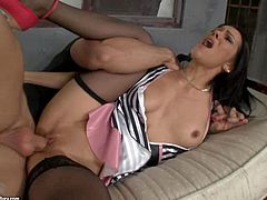Attractive slim black haired Samia Duarte with natural boobs and red sexy nail polish in stockings and sexy uniform gets fucked hard in the ass by turned on muscled stud in doggy style position